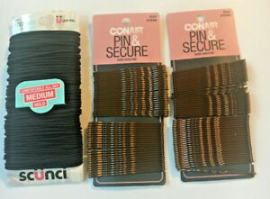 Conair Secure Hold,Pin & Secure Extra Long 48 Bobby Pins Brown (2) + 100 Scunci