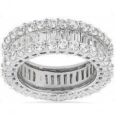 6.21 carat Round & Baguette Diamond 14K Gold Eternity Band F color Vs size 6.5