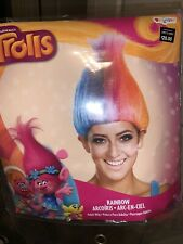 New Trolls Rainbow Wig Poppy  Rock Star Hair Halloween Costume Adult NEW