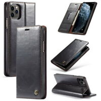 For iPhone 11 Pro Max XS Case Leather Magnetic Flip Wallet Card Slot Stand Cover