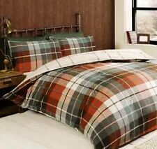 Lomond Check 100 Brushed Cotton Flannelette Duvet Quilt Cover Set Terracotta Double