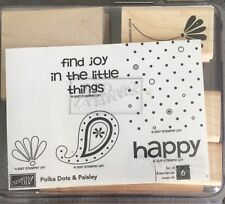 Stampin Up!  Set of 6  Rubber Stamps Polka dots and Paisley