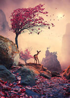 Framed Print - Stag and Deer on a Majestic Mountain Pass (Picture Poster Art)