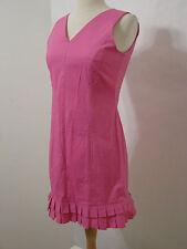 KRIZIA Pink Sleeveless V Cut Box Pleat Ruffled Hem Dress NWT M