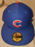 MLB CHICAGO CUBS NEW ERA 59 FIFTY BP BLUE FITTED MENS HAT SIZE 7 3/8 21072325