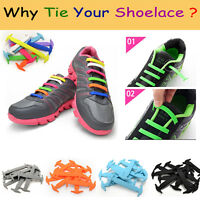 New 16Pcs Colored 100% Silicone Easy No Tie Elastic Shoe Laces Adult Shoelaces