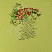JIMMY BUFFETT MARGARITAVILLE - LYRICS FLOWERS -SMALL YELLOW WOMENS T-SHIRT - S26