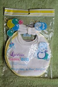 Package of 3 New Vintage Luv n' care Drool Bibs  2-Ply Terry Cotton Blend Yellow