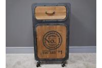 Industrial Vintage Style Metal & Firwood Bedside Table Cabinet Cupboard