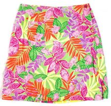 LILLY PULITZER PINK YELLOW GREEN PRINTED REVERSIBLE WRAP SKIRT SIZE 4
