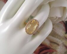 Vintage Jewellery Gold Ring Citrine White Sapphires Antique Deco Jewelry size 6