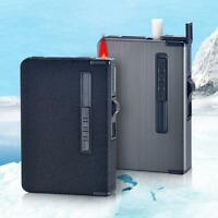 Automatic Cigarette Storage Case With Inbuilt Windproof Lighter Metal Box Holder