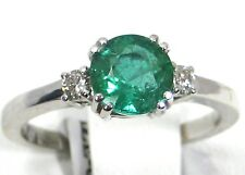 Emerald Ring 14K White gold Colombian Halo Natural Heirloom FREE App. $3,772