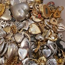 ESTATE VINTAGE~NOW HEARTS VALENTINE JEWELRY LOT PENDANTS EARRINGS RINGS+ 10 Pcs