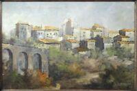 Vtg 1968 Leonardo De Magistris (1933-2010) Italian Village Landscape Painting