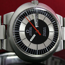 Mens Omega Dynamic Automatic Day Date 1970s Vintage Steel Watch with Bracelet