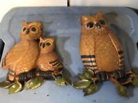 Set of 2 Vintage Home Interior Homco Owls 7403  Wall Plaque Hanging Hard Plastic