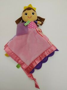"Infantino Baby Blanket Teether Princess Sparkle Lovey Taggies Satin 12"" Security"