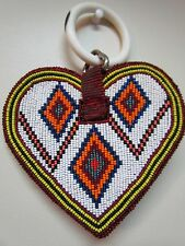 BEADED HEART PENDANT, MEANT FOR HORSE HARNESS, USED, 5.5 INCHES LONG