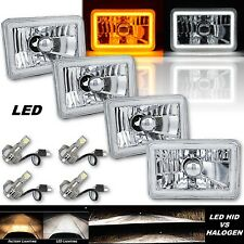 "4x6"" Switchback White DRL Halo / Amber Turn Signal LED Headlight Lamp Set of 4"