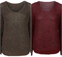 Damen Angesagter Strickpullover  Pulli Sweater mit V-Ausschnitt Größe 36 38 NEU
