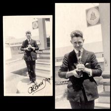 PHOTOGRAPHER w KODAK CAMERA & BELL TELEPHONE SIGN~ 1919 VINTAGE PHOTO ESTES PARK