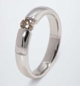 Ü.4774 Ring 925er Silber rhodiniert Brillant champagner 0,25ct RW18