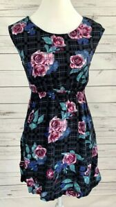 Forever 21 Dress Womens Small S Black Pink Floral Sleeveless Sundress 100% Rayon