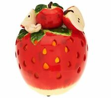 Home Reflections Decorative Fruit Ceramic Apple Luminary with Flameless Candle
