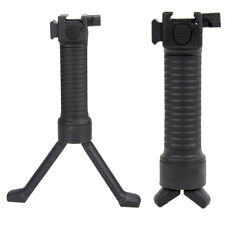 Made in USA Black Tactical Retractable Foregrip Bipod Reinforced Legs & Pic Rail