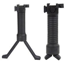 Premium Black Tactical Picatinny Weaver Bipod Grip Vertical Foregrip w/Side Rail