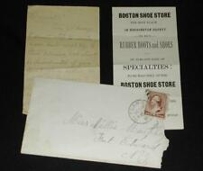 1886 Rutland VT Cover w/Note & Boston Shoe Store, Ft Edward Laundry Claim Check