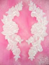 0280 Sequin Appliques Crystal Beaded Rose Floral Mirror Pair Bridal Patch 9.5""