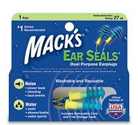 MACKS EAR SEALS DUAL PURPOSE - SWIMMING, CYCLING, MOTORCYCLING 27DB