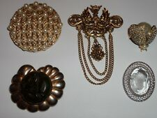 VINTAGE 5 BROOCHES PINS LOT FROM ESTATE CAMEO TRIFARI ART & MORE WAS $110