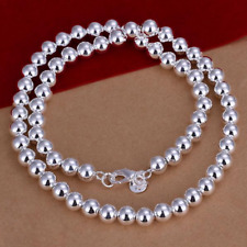 """Mens Womens 925 Sterling Silver 8mm Hollow Balls Beads 20"""" Chain Necklace #N140"""