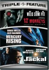 12 Monkeys/Mercury Rising/The Jackal (Dvd 1995 3-Disc Set)Bruce Willis, Brad Pit