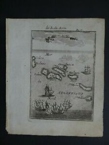 1719 Manesson MALLET Atlas map view  AZORES - Isles Inseln Acores