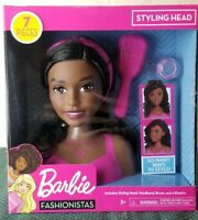 African American Barbie Doll Fashionistas Styling Head Deluxe Black Hair 7 Piece