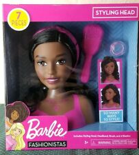 African American Barbie Doll Fashionistas Styling Head Deluxe 7 Piece