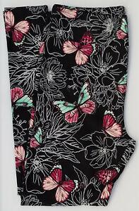 TC LuLaRoe Tall Curvy Leggings Pink Mint Butterflies White Flowers on Black E30