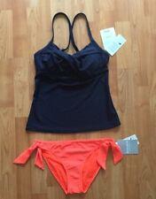 Athleta dress blue twister tankini and coral tie bottom, 34B/C, XS, NWT