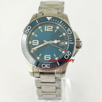 40mm sterile blue dial solid case sapphire glass ceramic automatic mens watch