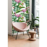 Non-Woven wallpaper Monstera Flamingo Flowers Tropical Floral Exotic Home Mural