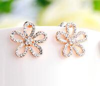18K Rose Gold Filled Swarovski Crystal Fashion Flower Stud Earrings Stunning