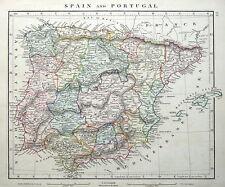 España & Portugal Arrowsmith Original Antiguo mapa 1828