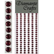 120 x 5mm Burgundy Diamante Self Adhesive Strips Rows Rhinestone Craft Gems