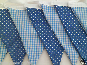 Bunting Blue Gingham and Blue Spot Double Sided Fabric 13ft/4m long
