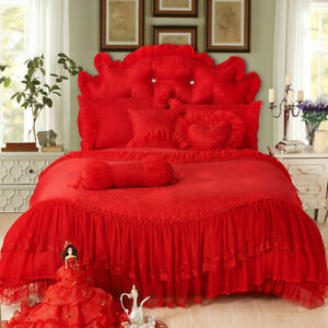 Luxury Bedding Set Lace Cotton Full Queen King Size Bed skirt Duvet Cover set