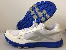 Reebok Yourflex Ortholite Trainers Running Shoes White & Blue UK 8  T166